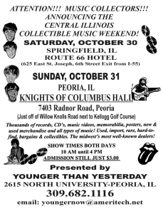 The Central Illinois Collectible Music Weekend will be at the Route 66 Hotel and Conference Center in Springfield, IL on October 30, 2021.