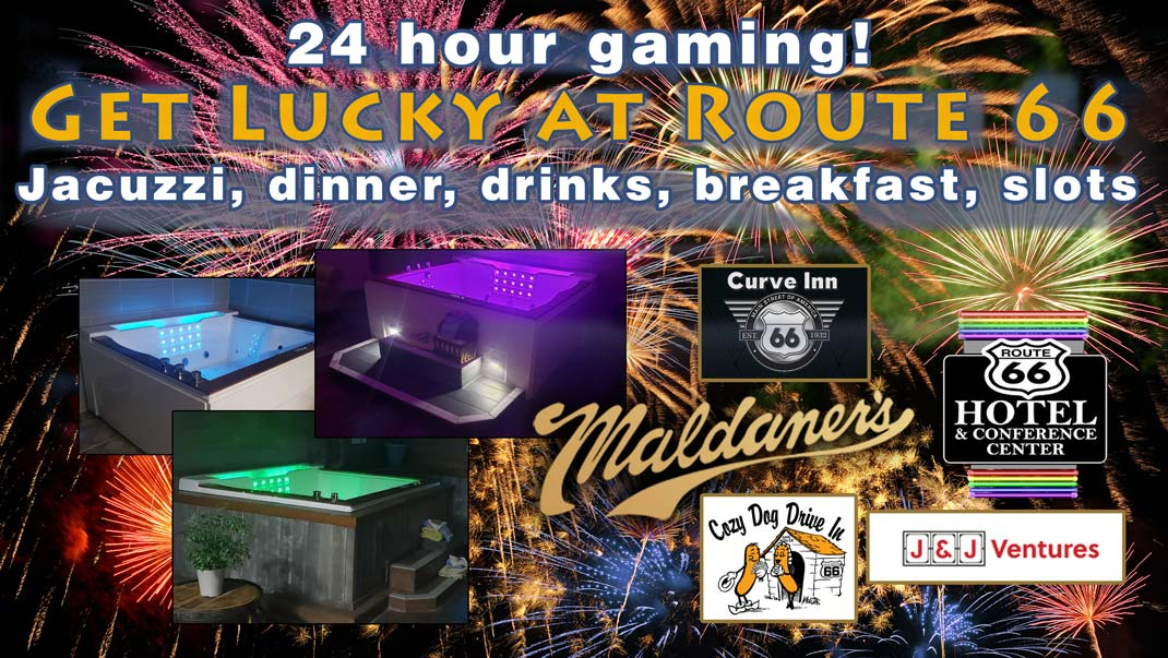 The Route 66 Hotel is partnering with the incomparable Maldaner's Restaurant, The Curve Inn and the Cozy Dog Drive In to CELEBRATE APRIL with a stay in a Jacuzzi suite, dinner, drinks, breakfast and slots!
