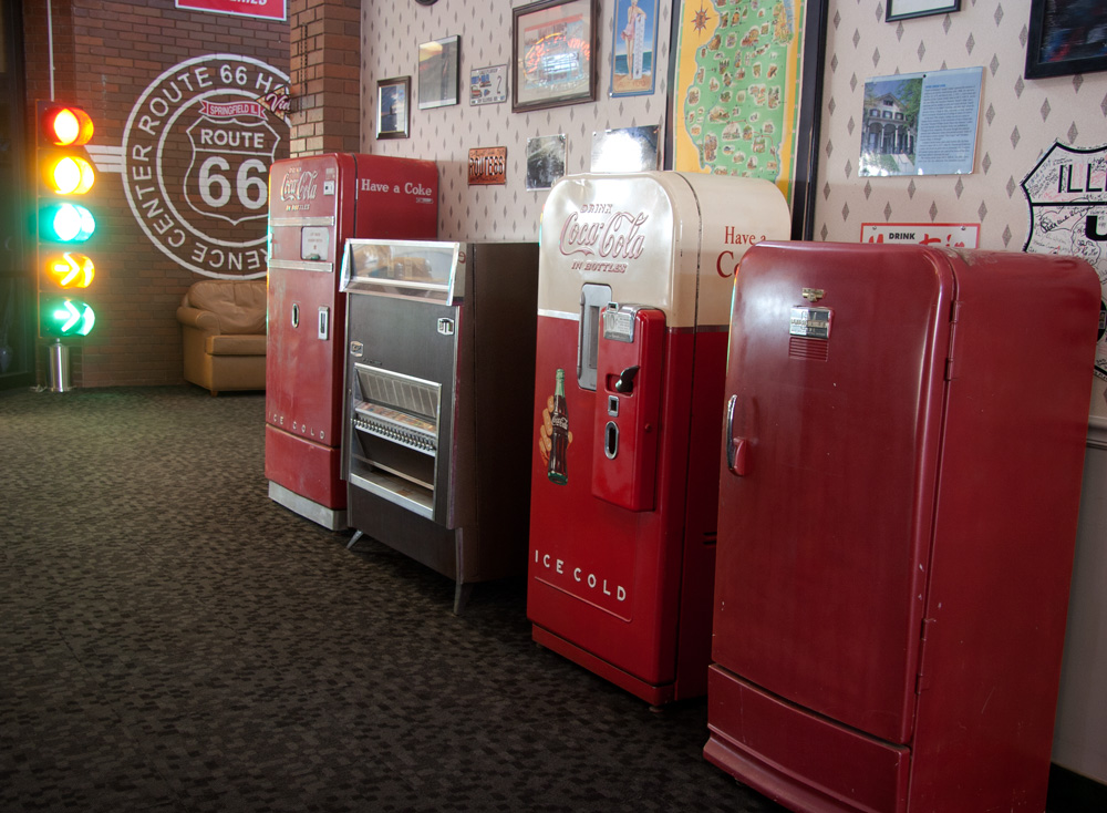 Route 66 Hotel in Springfield has vending machines!