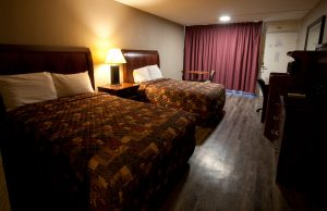A double room at the Route 66 Hotel in Springfield, IL.