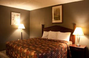 King room at the Route 66 Hotel in  Springfield, IL.