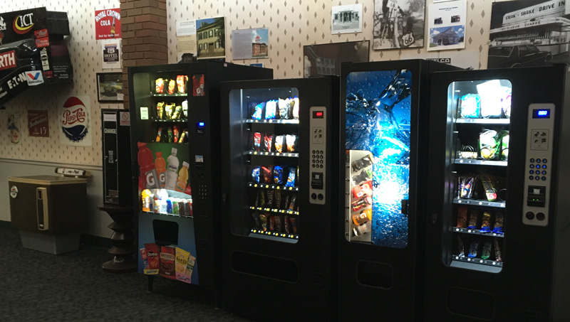 Route 66 Hotel in  Springfield IL has vending machines with snacks and drinks for your convenience.
