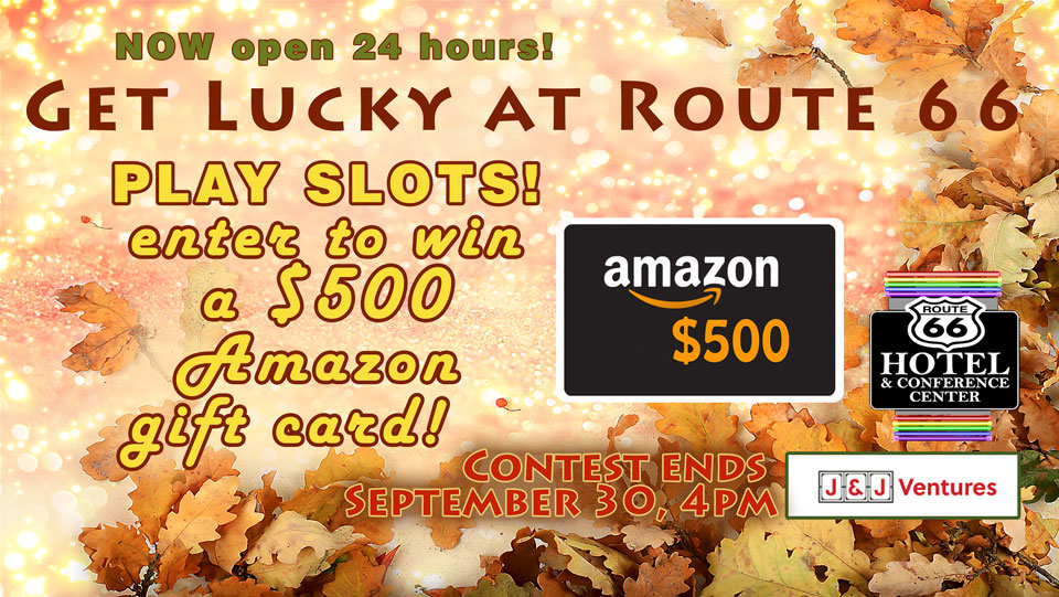 Play Slots and enter to win a $500 Amazon Gift card! Contest ends September 30, 2021 at 4:00pm.