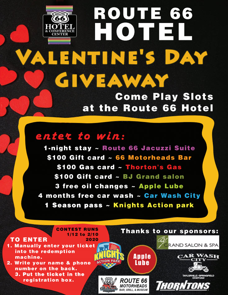 Route 66 Hotel Valentine's Day Giveaway Come Play Slots at the ROUTE 66 HOTEL! CONTEST RUNS January 12 to February 10, 2020