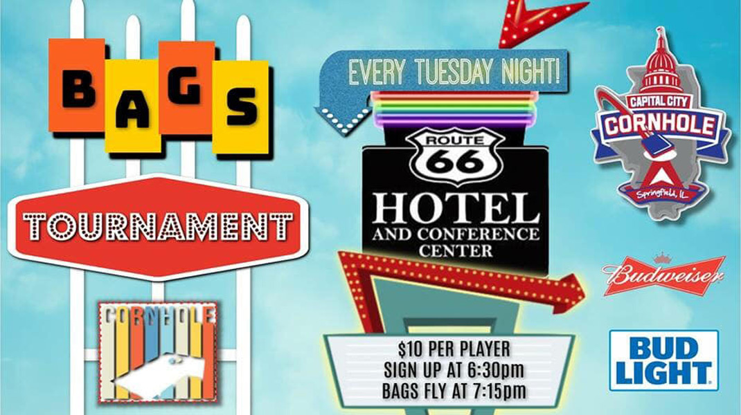 Sponsored by Capital City Cornhole, LLC of Springfield, IL, the Route 66 Hotel and Conference Center hosts a weekly bags tournament every Tuesday night.