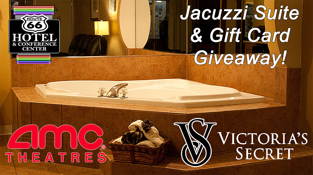 Our Special Includes: a Jacuzzi Suite overnight stay, a Victoria Secret Gift Card, 2 AMC Movie Tickets, Dinner for 2 at Route 66 Restaurant and Bar, & Complementary bottle of champagne. Book Now at 217-529-6626 or at RT66Hotel.com!